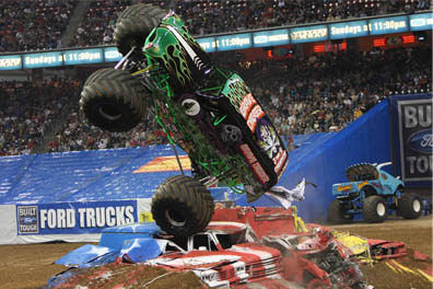 Get Monster Jam Trucks Denver CO tickets and watch the monster trucks rev up their engines for an exciting show. Some renowned trucks and their drivers appearing at the show in Colorado are, Randy Brown and his truck, Grave Digger.